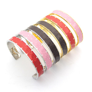 Luxury jewelry designer bracelets gold with leather bangles for women four leaf flowers cuff high-end elegant ins bracelet fashion jewelry