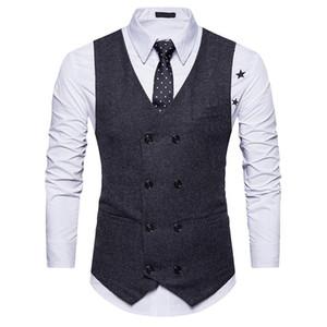 Hommes Double Breasted Suit Gilets Gentlemen Casual Business Sans Manches Gilet Vintage Formelle Blazers Gilet Pour La Fête De Mariage