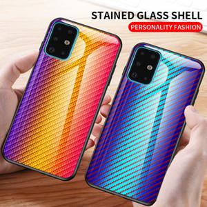 Fibre de carbone dégradé Téléphone cas pour Samsung Galaxy S20 Ultra S20 + S10 plus Note 10 Note20 Ultra A71 A51 A30 en verre trempé Couverture