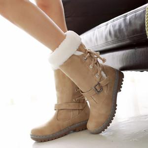 Зимние сапоги женщины теплый бархат женщина пинетки Shoes2019 середины икры зашнуровать зима Женская обувь Женская обувь