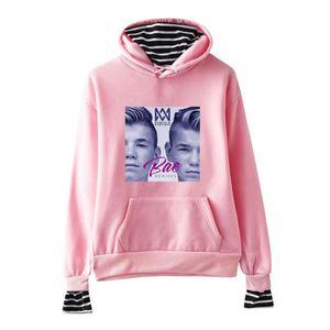 Marcus e Martinus Homens / Mulheres Hoodies Camisolas Listrado Pachwork Falso Duas Peças de Lã Com Capuz Jaqueta Harajuku Sweatershirt