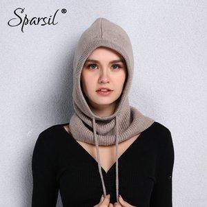 Sparsil unisex con capucha de lana de punto collar ajustable caliente elásticos sombreros de invierno MenWomen gruesa cubierta de cachemira de cuello con cordón Caps MX191130