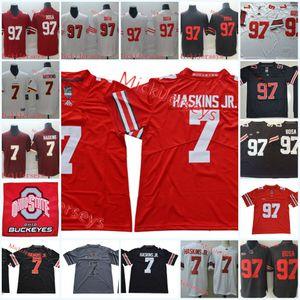 Mens штата Огайо Buckeyes Дуэйн Хэскинс мл. Футбол Джерси # 97 Joey Боза Сан-Франциско # 7 Дуэйн Хэскинс Вашингтон Джерси S-3XL