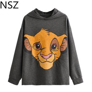 NSZ Women Cotton Animal Cartoon Tiger Hooded Sweatshirt Harajuku Oversized Hoodies Sweat Tracksuit Pullover Sportswear Hoody Y200706