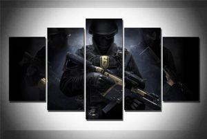 Rainbow Six Siege Soldado de Tom Clancy, 5 Pintura pedaços de lona HD Printing New Home Decoração Arte / (Unframed / Framed)