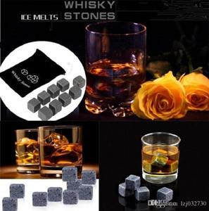 900pcs / 100set Yüksek Kalite Doğal Taşlar 9pcs / Viski Taşlar Cooler Soapstone Ice Cube ile Kadife Depolama Kılıfı A132 set