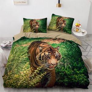 3D letto di nero Duvet Quilt Cover Set Consolatore Lenzuola federa Re Regina 140x210cm Dimensioni Animal Tiger disegno stampato