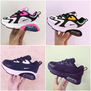 Nike Air Max 200 2019 Çocuk Spor Ayakkabıları Çocuk Basketbol Ayakkabı Kurt Gri Bebek Spor Sneakers Erkek Kız bebek Bebek büyüklüğü 28-35 için