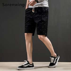 Sorenwing Nouveau Design Shorts Imprimé 2019 Hommes Décontracté Shorts De Plage Taille Élastique Plus La Taille Mâle Vêtements Longueur Au Genou 21