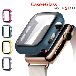 Tempered Glass+Case For Apple Watch 5 4 44mm 40mm Screen Protector iWatch 3 2 1 42mm 38mm Protective Cover