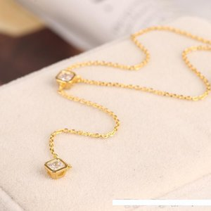 Pop High USpecial PS6079 Henri Wholesale Price New Fashion Trendy Necklace CZ Diamond Lariat Delicate Gold Y Necklace 40.5+7CM free shipping