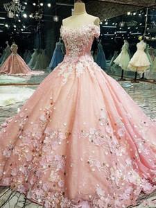 2020 Novo Luxo vestido de baile Vestidos Quinceanera Off the Shoulder Lace apliques de cristal frisado Com Flores festa de 16 anos Prom Vestidos