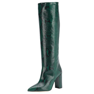 Nuovo Python Embossed Leather Gambaletto Thick tallone di punta Stivali Donne Donne Stivali Zapatos de Mujer Botas Size 35-43