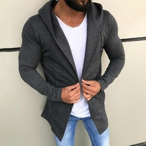 mens designer hoodie casual hip-hop style long cardigan solid color sweater fashion
