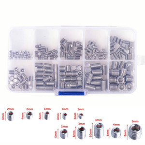 200pcs M3-M8 Hexagon Screws Stainless Steel Hex Socket Set Hexagon Sets Machine Screw Grub Screws Cup Kit With Plastic Box
