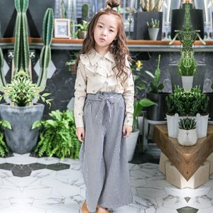 Pants Stripes Crawler Women's Wide-Leg Children Pants Spring And Autumn Bandage Cloth Girls Trousers Bow CHILDREN'S Trousers Kor