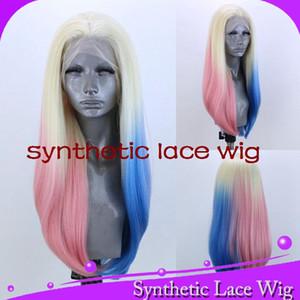 MHAZEL blonde 613 # Ombre parrucca anteriore del merletto sintetica parte centrale rosa-blu capelli 13 * 6in lace può tingere