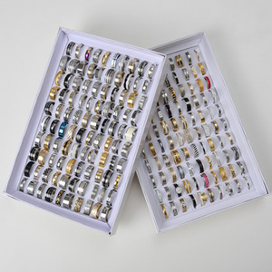 Womens Düğün Band Yüzük için 50 adet Birçok Paslanmaz çelik Mücevher Yüzük