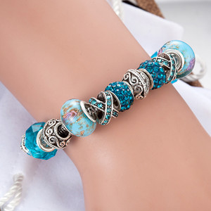 Blue magic beads bracelet 925 silver Pandora bracelet crystal magic beads bracelet Pandora gold beads as Diy jewelry gifts