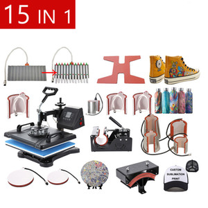 الحرة الشحن 12X15 بوصة شاشة مزدوجة كومبو 15 في 1 التسامي T قميص آلة نقل الحرارة لقبعة / القدح / إطار / القلم