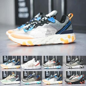 2019 React Element 87 Volt 55 Game Royal Taped Seams Running Shoes For Women men 55s Blue Chill Trainer 87s Sail Sports Sneakers EYD-F1