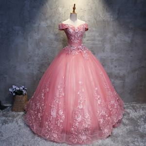 Dusty Rose Quinceanera Robes de bal Robes de bal en dentelle Appliqued Paillettes doux 16 Robes chérie Robes de quincean