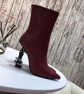 Logo Buchstaben Ferse Absatzaufladungen Paris Laufsteg kurze Stiefel spitze Zehe Art und Weise der Frauen Schuhe mit hohen Absätzen kurze Stiefel Luxusdamenschuhe