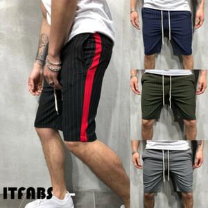 Moda estate Mens misura sottile casuale pantaloncini in cotone a righe Breve Sport Uomo Casual a righe Pantaloncini Abbigliamento Estate