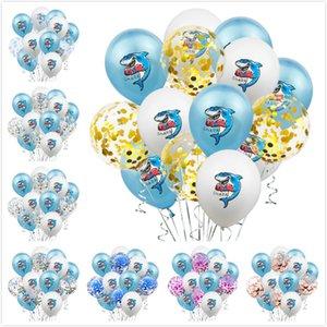 15pcs de 12 pulgadas globo de látex tiburón del brillo del confeti de la fiesta de cumpleaños de los niños Globos Suministros globos Decoración