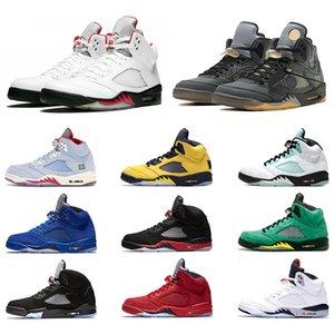 Nike Air Jordan 5 Retro 5 5 s Erkek Basketbol Ayakkabıları Mavi Süet Taze Prens Getirdi Laney Beyaz Erkekler Trainer Spor Sneakers Tasarımcı Ucuz Boyutu 8-13 Online Satış
