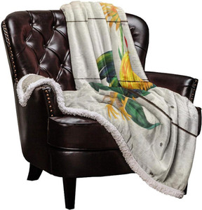 Double Lamb Cashmere Blanket Sofa Winter Super Warm Rooster Flower Color Wood Grain Throw Blankets for Office Bedspread