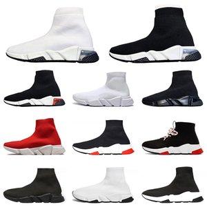 Cheap Luxury Speed Trainer Casual Running Flat Sock Shoes Graffiti Transparent Triple White Men Women Sports Sneakers Size 36-45