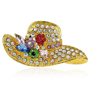 3Colors Fashion Hats Rhinestone Pin Brooch Designer Brooches Badge Metal Enamel Pin Broche Women Jewelry Party Decoration