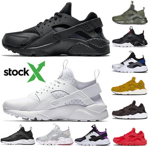 De Stock X 2020 clássico Huarache 1.0 4.0 Running Shoes triplos branco preto Olive Huraches 1s Homens Mulheres Outdoor Casual instrutor Sneakers 36-45