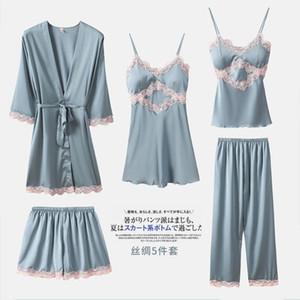 Satin-Pyjamas 5PCS Schlaf-Set Lady Kimono Bademantel Kleid Nachtwäsche Sexy Brauthochzeits-Geschenk Nachtwäsche Pyjamas Spitze Nightgown