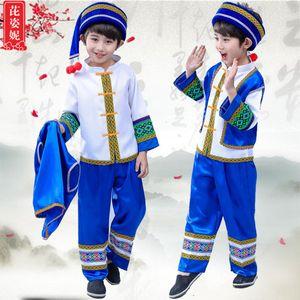 Enfants Miao Afficher Serve Zhuang danse Servir Festival de la flamme Yi Dong Ethnic Minority Gourd Soie Vêtements Performance