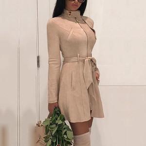 Moda Donna Giacche Cappotti Inverno Cerniera Cappotto con telai Dolcevita Casual Office Lady Manica lunga Outwear Coat 6Q2468