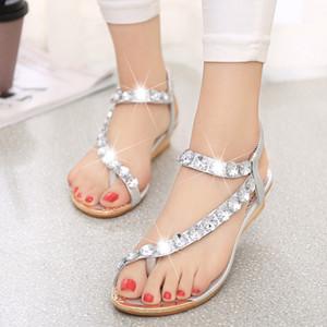 Seksi rhinestone tasarımcı düz topuk weding ayakkabı yaz bohemia tanga kama sandalet altın gümüş A-1size 35-41