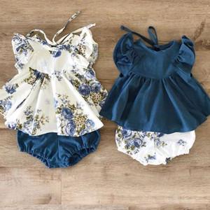 Recién Nacido Bebé lindo Tops Body floral Harem los pantalones cortos ropa de verano Juegos