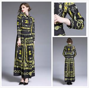 Elegante Barocco imprimió el vestido maxi Hermosa botón superior nueva pista de las mujeres de la solapa frontal del cuello vestidos de noche del partido atractivo delgado de la señora de la oficina