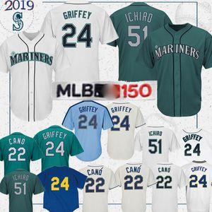 Surpiqués jersey Mariners de Seattle de baseball 51 IchiroSuzuki 15 KyleSeager 24 KenGriffeyJr. 51 34 FelixHernandez hommes Randy Johnson Baseball-shirt