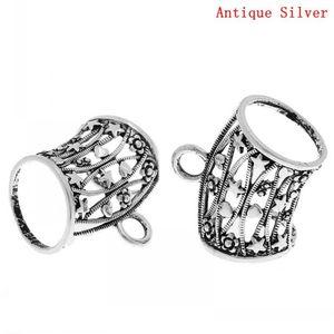 Dorabeads Bail Beads para Padrão Enrole Scarf antiga estrela de prata esculpida oco 3,7 centímetros x 3,4 centímetros, 5pcs