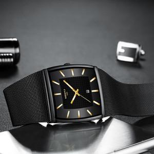 NIBOSI para hombre relojes de primeras marcas de lujo Blue Square reloj de cuarzo impermeable de los hombres de oro masculino Reloj Hombres Relogio Masculino 2020
