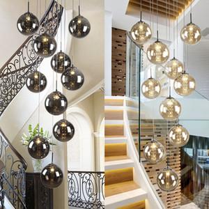 Villa Entryway escadas de vidro Orb altas de suspensão espiral longa Lâmpadas Modern cristal Beads Staircase Chandelier Para Casa