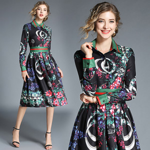 Top New Runway Damen Luxus Mode Floral bedruckte Kleider Herbst Frühling Elegante Bürodame Sexy Slim Knielangen Party Abendkleider