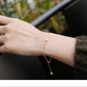 18k Gold Color 5MM Freshwater Pearl Charm Bracelets Real 100% 925 Sterling Silver Link Chain Bracelets & Bangles For Women