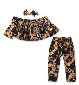 Çocuk Moda Tasarımcısı etiket Baskı Tarzı 3 adet / takım Kapalı Omuz Tops + pantolon + kafa Kız Giyim Seti Toddler Bebek Çocuk Kıyafetleri