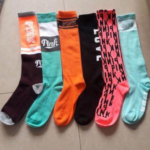 Rosa de la moda de las mujeres medias hasta la rodilla calcetines altos de la calle 2020 calcetines deportivos Fútbol Cheerleaders adultas calcetines largos