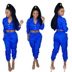 Spring Women 2pcs Pants Solid Color Sports Set With Button Female Jumpsuit Casual Apparel