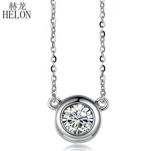 HELON Solid 18K White Gold 0.30ct VVS FG Lab Grown Moissanites Diamond Engagement Wedding Pendant Necklaces Trendy Jewelry Gift